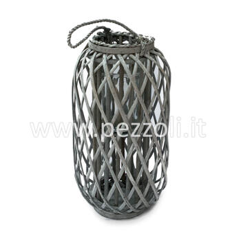 Grey Wood Lantern H 50cm