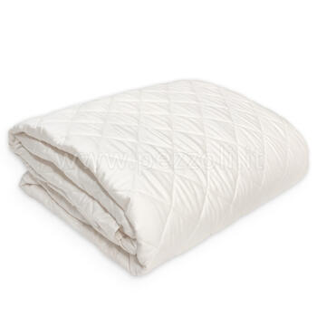 MODERN RASO Quilted bedcover cm 175x260 made in satin cotton fabric NATURAL